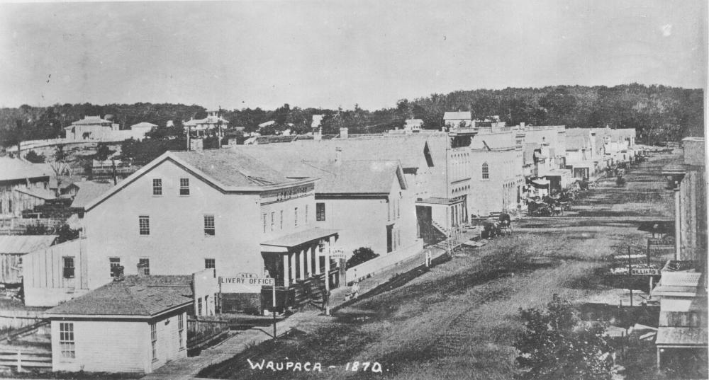 View of the north end of Main Street, Waupaca, in 1870.